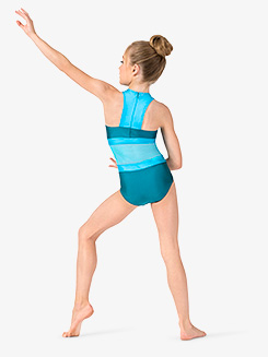 Girls Two-Tone Crisscross Halter Leotard