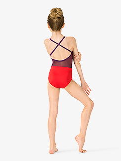 Girls Two-Tone X-Back Camisole Leotard