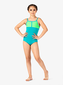 Girls Two-Tone Mesh Panel Camisole Leotard