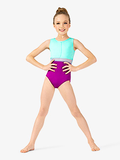 Girls Contrast Mesh Waist Tank Leotard