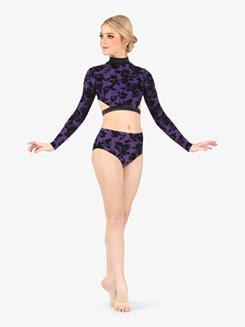 Womens Burnout Velvet Mock Neck Long Sleeve Dance Crop Top