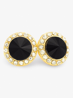 10mm Gold Plated Rhinestone Post Earrings