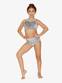 Girls Embossed Velvet Tank Dance Bra Top