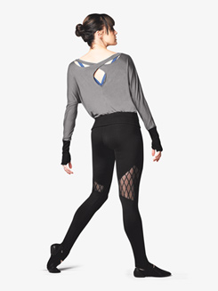 Womens Diamond Mesh Stirrup Dance Leggings