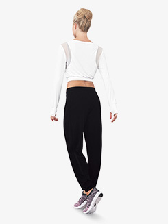 Womens Mesh Insert Drawstring Dance Sweatpants