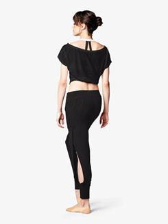 Womens Front Tie Short Sleeve Dance Crop Top
