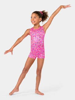 Child Tank Foil Heart Shorty Unitard