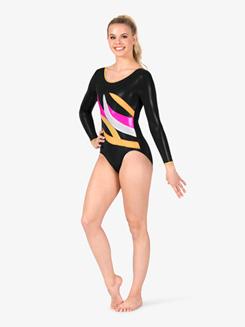 Womens Gymnastics Contrast Spliced Long Sleeve Leotard