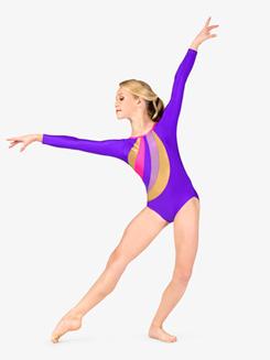 Girls Gymnastics Spliced Print Long Sleeve Leotard
