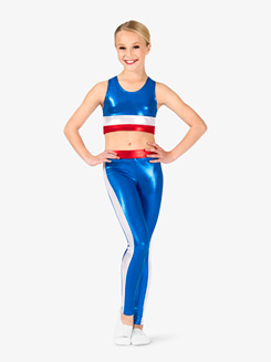 Girls Gymnastics Patriotic Print Leggings