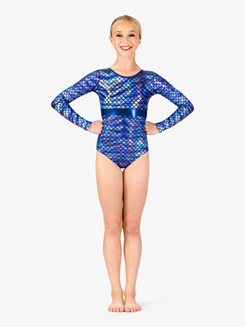 Girls Gymnastics Fish Scale X-Back Leotard