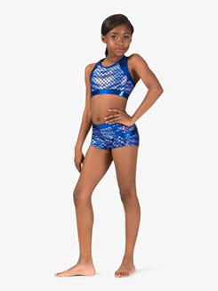 Girls Gymnastics Fish Scale Print Tank Bra Top