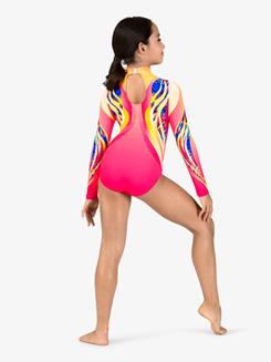 Girls Swirl Sublimated Print Print Long Sleeve Gymnastics Leotard