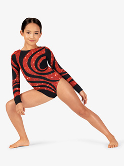 Girls Gymnastics Long Sleeve Printed Sequined Swirl Leotard