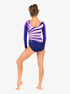 Womens Ombre Sparkle Sublimated Print Long Sleeve Gymnastics Leotard