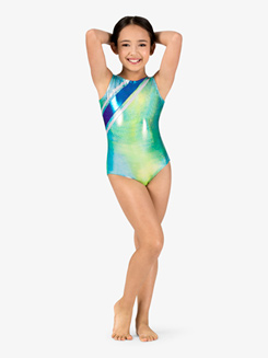 Girls Gymnastics Twinkle Print Multi-Strap Back Tank Leotard
