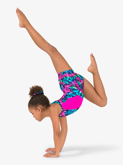 Girls Gymnastics Tie-Dye Tank Shorty Unitard