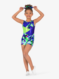 Girls Gymnastics Splatter Print Tank Shorty Unitard