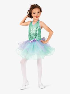 Girls Two-Tone Sequin Halter Costume Tutu Dress