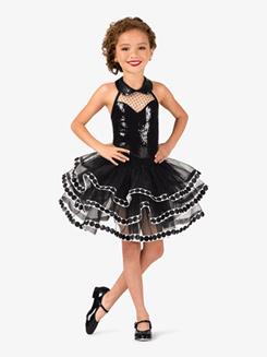 Girls Polka Dot Sequin Halter Costume Tutu Dress