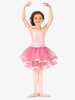 Girls Asymmetrical Sequin Costume Tutu Dress