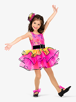 Girls Performance Belted Layered Tank Tutu Dress