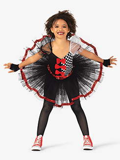Girls Performance Three-Tone Short Sleeve Tutu Dress