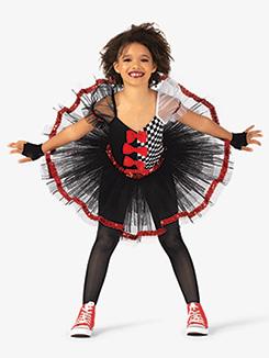 Girls Performance Three-Tone Short Sleeve Tutu Dress