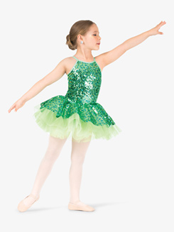 Girls Performance Two-Tone Sequin Camisole Tutu Dress