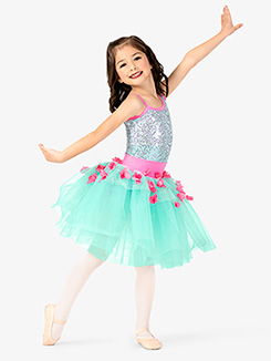 Girls Performance Asymmetrical Floral Tutu Dress