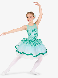 Girls Performance Contrast 3D Floral Tank Tutu Dress