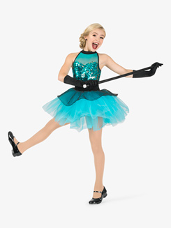 Girls Performance Two-Tone Layered Tutu Dress