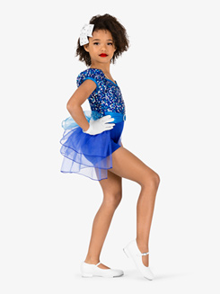 Girls Performance Cap Sleeve Bustled Shorty Unitard