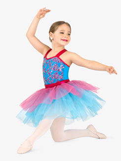 Girls Performance Contrast Sequin Tank Tutu Dress