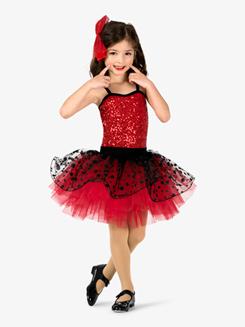 Girls Performance Contrast Sequin Polka Dot Tutu Dress