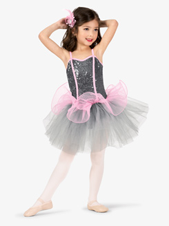 Girls Performance Contrast Corset Camisole Tutu Dress
