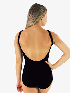 Girls Solid Black Low Strappy Front Tank Leotard