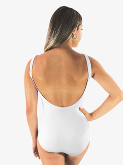 Girls Solid White Low Strappy Front Tank Leotard