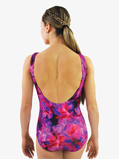 Womens Floral Printed Low Back Tank Leotard