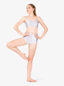 Womens Iridescent Metallic Camisole Performance Bra Top