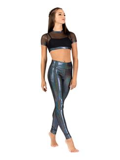 Womens Iridescent Mesh Performance Short Sleeve Crop Top