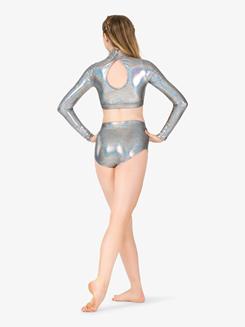 Womens Iridescent Metallic Long Sleeve Performance Crop Top