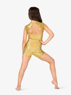 Womens Iridescent Metallic Performance Cap Sleeve Top