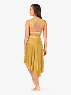 Womens Iridescent Metallic High-Low Performance Skirt
