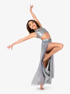 Womens Iridescent Metallic Waistband Long Performance Skirt