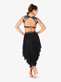 Womens Iridescent Metallic Waistband Mesh Performance Skirt