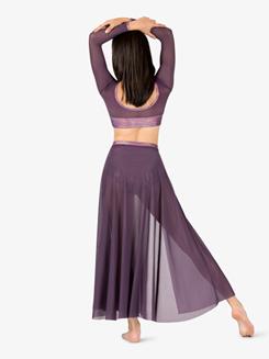 Womens Iridescent Performance Mesh Long Sleeve Crop Top