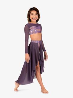 Girls Iridescent Performance Mesh Long Sleeve Crop Top