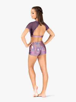 Womens Iridescent Performance Mesh Short Sleeve Crop Top