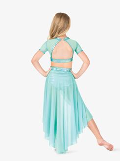 Girls Iridescent Performance Mesh Short Sleeve Crop Top